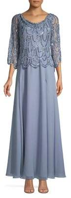 J Kara Sequin Scalloped Chiffon Gown
