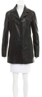 Frame Notched-Lapel Leather Jacket