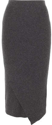 Allude Wrap-effect Ribbed Wool And Cashmere-blend Midi Skirt