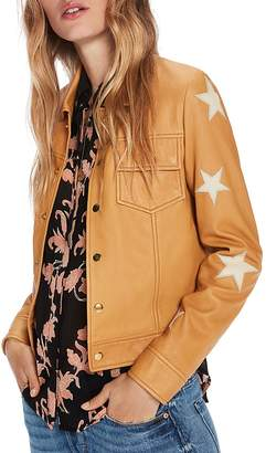 Scotch & Soda Star Patch Leather Jacket