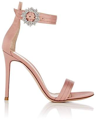 Gianvito Rossi Women's Crystal-Embellished Satin Ankle-Strap Sandals