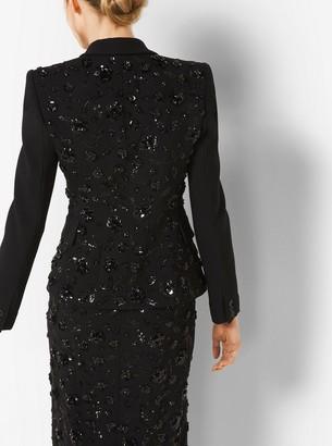 Michael Kors Floral-Embroidered Stretch Pebble-Crepe Dinner Jacket