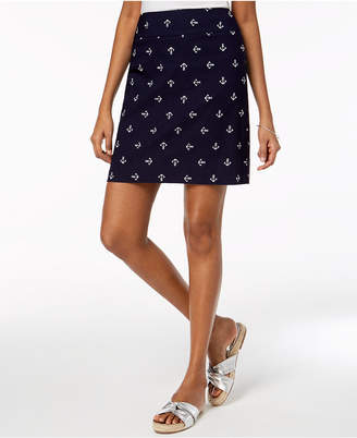 Charter Club Petite Embroidered Pull-On Skort, Created for Macy's