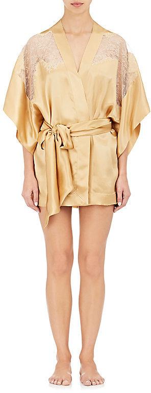 Carine GilsonCarine Gilson Women's Lace-Trimmed Silk Satin Kimono Robe