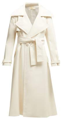 Sara Battaglia Double Breasted Faux Leather Trench Coat - Womens - Ivory