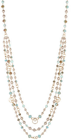 Carolee Carolee Turquoise Sands 4MM Faux Pearl Beaded Swag Necklace