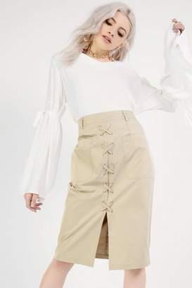 Glamorous **Lace Up PU Midi Skirt