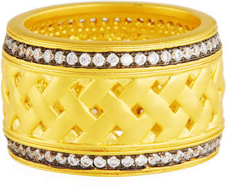 Freida Rothman Textured Ornaments Wide Band Ring Size 7