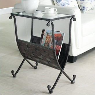 Monarch Specialties Black/Taupe Mix Metal Magazine Table with Tempered Glass