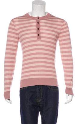 Dolce & Gabbana Striped Silk Henley Sweater