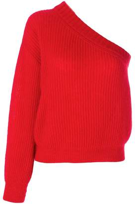 Nina Ricci one-shoulder ribbed-knit jumper