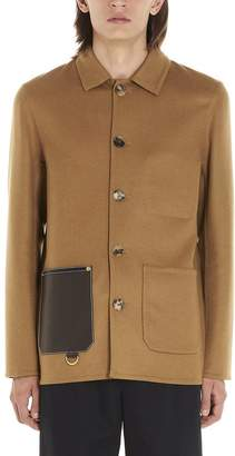 Loewe Leather Patch Pocket Detail Single Breasted Jacket