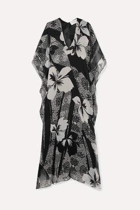 Marie France Van Damme - Printed Silk-chiffon Kaftan - Black