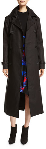 DKNYDKNY Belted Double-Breasted Cotton Trenchcoat, Black