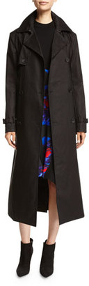 DKNY Belted Double-Breasted Cotton Trenchcoat, Black $798 thestylecure.com