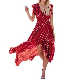 dumanfs Womens Dots Boho Warp Long Dress, Lady Short Sleeve Ruffle Hem Bandage Summer Beach Sundress Maxi Dress