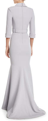 Badgley Mischka Jeweled-Front 3/4-Sleeve Belted Trumpet Tuxedo Evening Gown