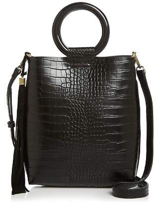 Street Level Croc-Embossed Tote with Circle Handles