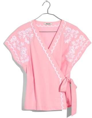 Madewell Embroidered Kimono Wrap Top