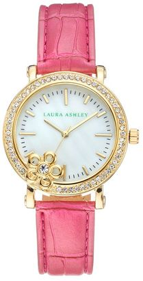 Laura Ashley Women's Crystal Leather Watch $395 thestylecure.com