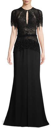 Murad Zuhair Short-Sleeve Embellished Long Evening Gown