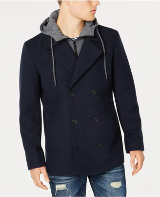 American Rag Men's Regular Fit Twill Fleece Peacoat with Hooded Sweatshirt Bib