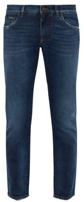 Dolce & Gabbana Logo Applique Pocket Slim Leg Jeans - Mens - Blue