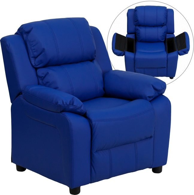 Flash Furniture Deluxe Heavily Padded Contemporary Blue Vinyl Kids Recliner with Storage Arms