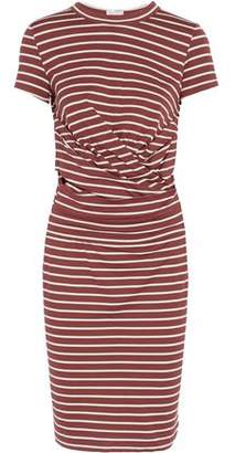 Brunello Cucinelli Gathered Striped Cotton-Jersey Dress
