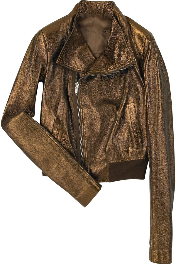 Rick Owens Metallic finish bomber