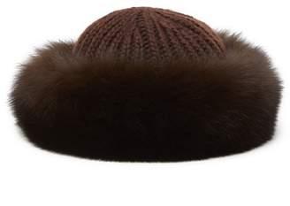 Surell Genuine Rabbit Fur Cuff Knit Crown Hat