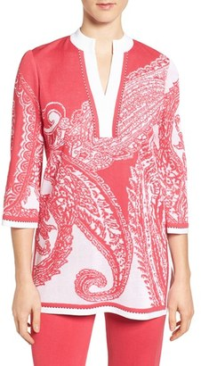 Women's Ming Wang Print Split Neck Knit Tunic $305 thestylecure.com