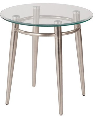 Office Star AVE-SIX by Products Brooklyn Round End Table, Nickel Brush/Clear Glass