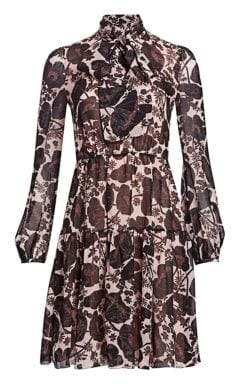 Giambattista Valli Floral Mockneck Silk A-Line Dress