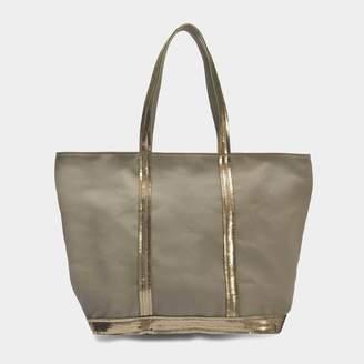 Vanessa Bruno Canvas and Sequins Medium + Zipped Tote Bag in Safari Cotton