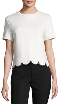 RED Valentino Short-Sleeve Cotton Tee w/ Scalloped Hem, White $395 thestylecure.com