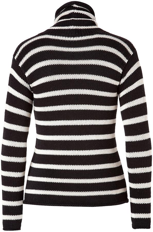 Ralph Lauren Cotton-Cashmere Blend Striped Turtleneck in Black/Cream