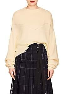 Taverniti So Ben Unravel Project Women's Cotton-Cashmere Crop Sweater-Off White