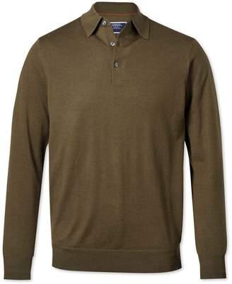 Charles Tyrwhitt Olive Wool Polo Collar Merino Sweater Size Medium