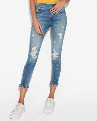 Express Mid Rise Embellished Stretch Cropped Jean Leggings