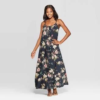 Xhilaration Women's Floral Print Sleeveless Scoop Neck Maxi Dress Navy