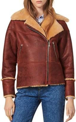 Sandro Zinal Shearling Biker Jacket