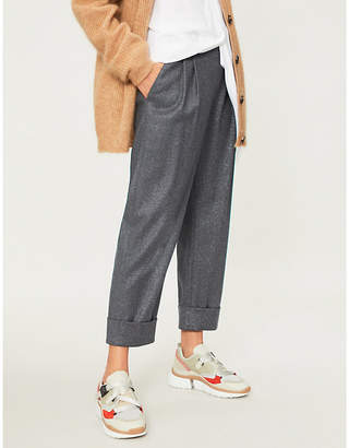 Brunello Cucinelli Cropped mid-rise wool-blend straight-leg trousers