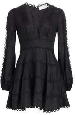 Zimmermann Heathers Flounce Plunge Front Dress