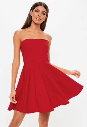 Missguided Red Scuba Bandeau Skater Dress, Red