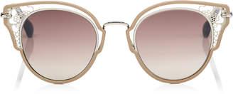 Jimmy Choo DHELIA Nude and Palladium Metal Sunglasses