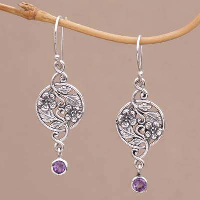 Inflorescence Balinese Amethyst and Sterling Silver Floral Dangle Earrings