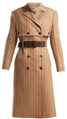 Altuzarra Higgins Pinstriped Double Breasted Wool Blend Coat - Womens - Beige Stripe