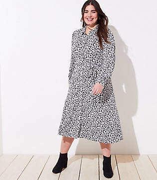 LOFT Plus Leopard Print Tie Waist Shirtdress
