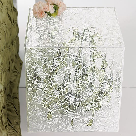 Acrylic Lace Side Table - White